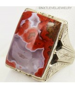 HEAVY 11+ GRAM Antique Art Deco Natural RED Agate 10k Solid White Gold M... - $935.55