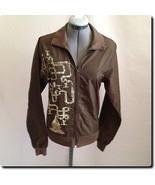 "American Apparel ""Naive-O-Meter"" Gold Print Brown Windbreaker Jacket Coa... - $18.78"