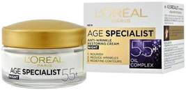 L'Oreal Age Specialist Night Cream 55+ Anti Wrinkle Hydrating Moisturizi... - $15.39