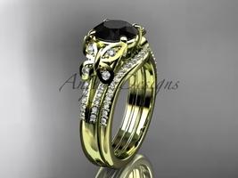 Black Diamond Butterfly ring 14kt yellow gold diamond wedding ring set ADLR514S - $2,595.00