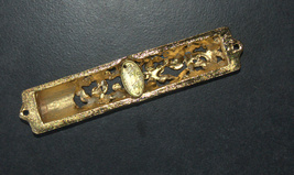 Judaica Mezuzah Case Gold Enamel Decorated Jeweled Aqua Crystals 8 cm Menorah image 5