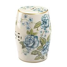 Garden Stool or Side Table, Plant Stand Antique Blue Floral Design - $92.95
