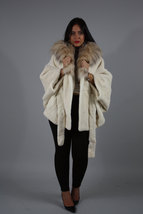 Luxury gift / Pearl Nutria  fur cape/  Full skin/With hood inside Fox / Wedding, image 5
