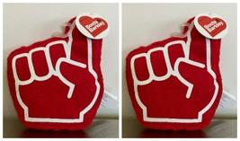 2 Boots & Barkley Foam Finger Dog Toy Plush Squeaks Crinkles Red Dog Pup... - $8.90