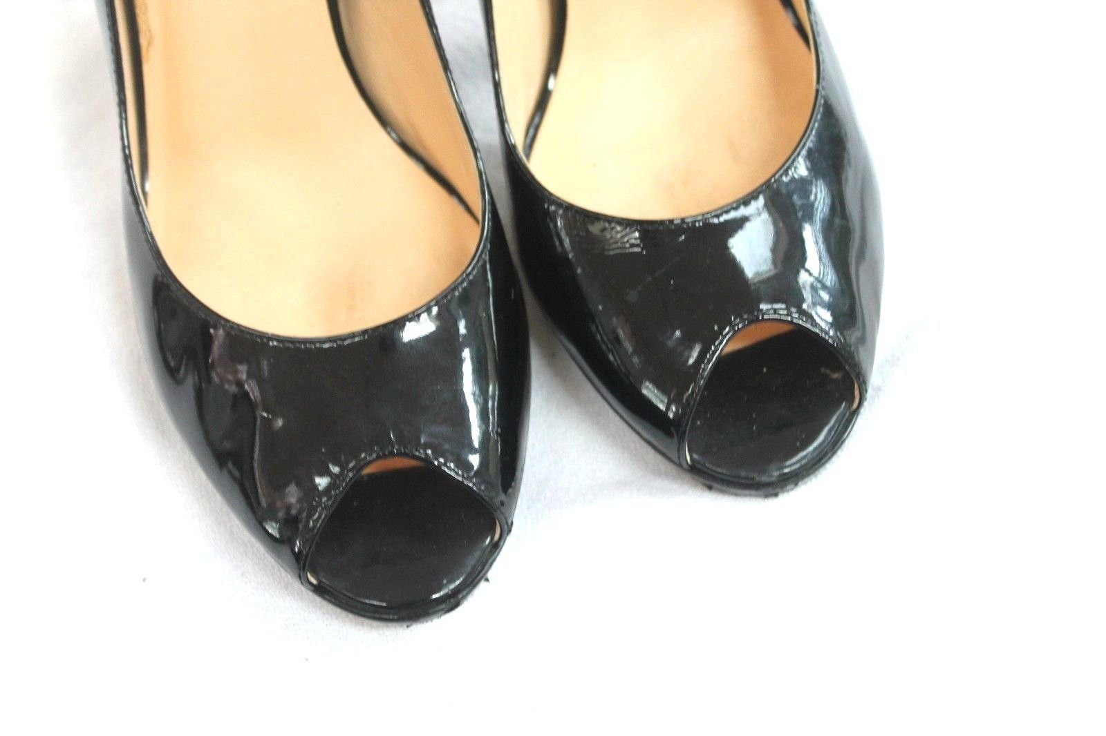 ffae8d6daf7 COLE HAAN Black Patent Leather Peep Toe Platform Pump Dress Heels 7.5 B