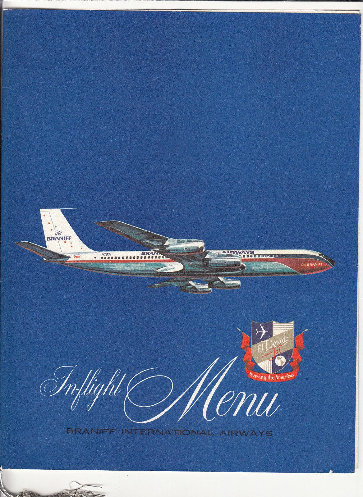 Braniff International Airways El Dorado Super Jet In Flight Menu 1940's