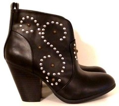 MOSSIMO - Black Western Style Stud Embellished Ankle Boots - Women's Siz... - £26.20 GBP