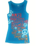 SO Girls 7-16 Blue Sun Braided Racerback Ribbed Peace Tank Top Swim Cover - $4.99