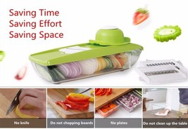 New Mandoline Slicer Manual Vegetable Cutter with 5 Blades Potato Carrot... - $18.13