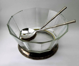 Modernist Italian Crystal and Silver Plate Pedestal Salad Bowl with Silv... - $57.90