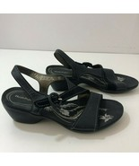 HUSH PUPPIES H502222 Black Leather Sandals Womens US Size 7M - $49.45