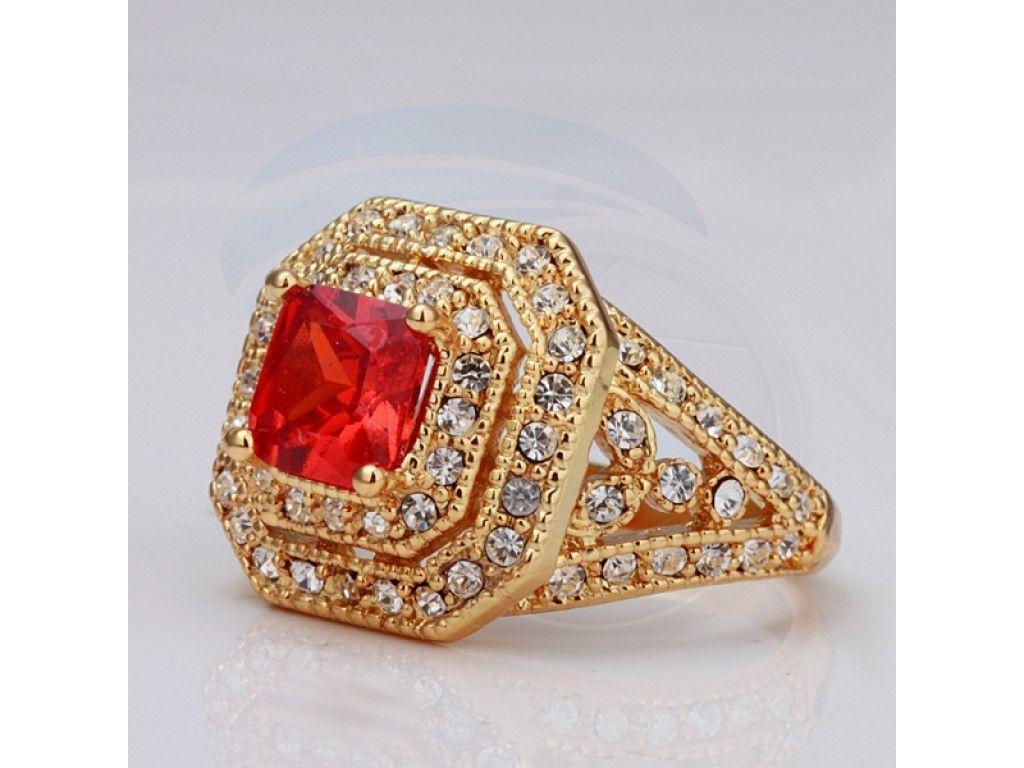 Size 8 Ashbury Metal 18K Yellow Gold Plated Zircon Rhinestone Crystal