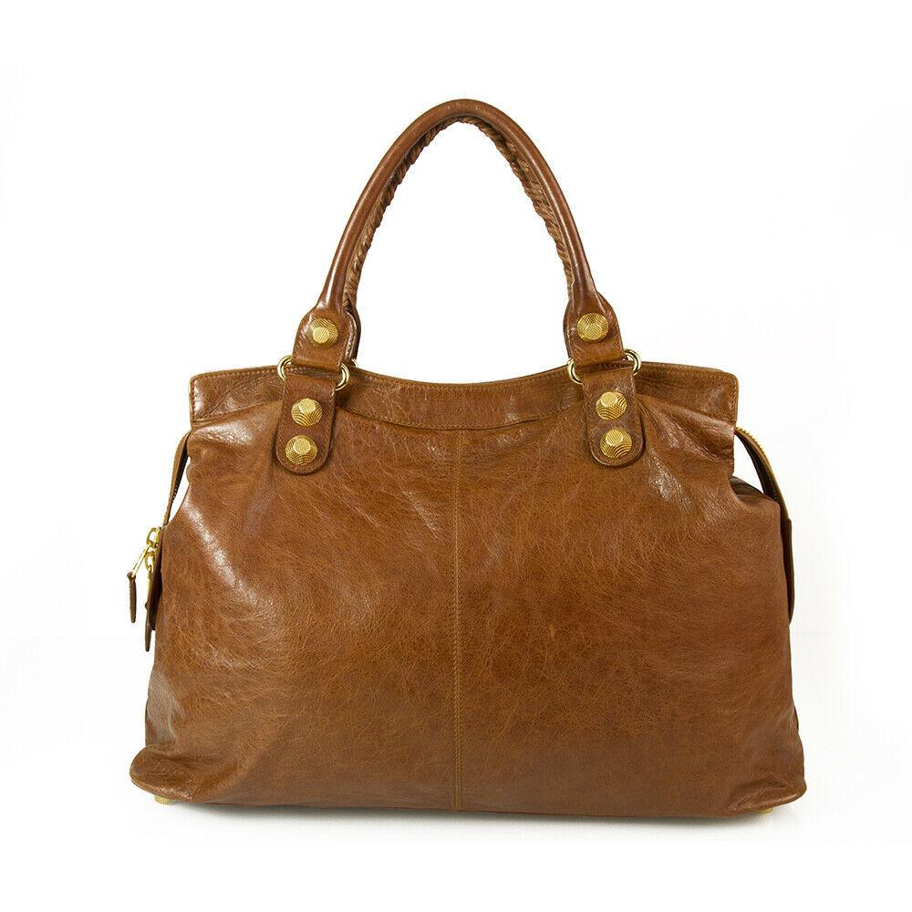 BALENCIAGA Tan Brown Leather Giant 21 Gold Weekender Bag retailed at $2,385  image 2