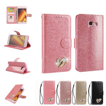 Bling Heart  Magnetic Wallet KickStand PU Leather Case Cover for Samsung A5 2017 - $9.43