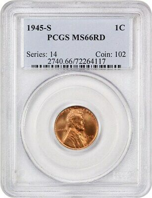 1945-S 1c PCGS MS66 RD - Lincoln Cent