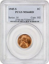 1945-S 1c PCGS MS66 RD - Lincoln Cent image 1