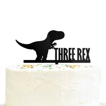 Dinosaur Birthday Cake Topper 3 Year Old Cake Topper Three Rex Tyrannosa... - $18.99