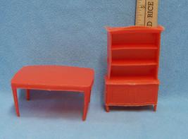 Vintage Set of 2 Doll House Furniture Plasitc Orange Kitchen Table & Chi... - $9.89