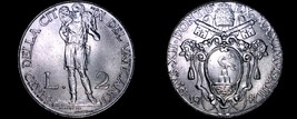 1941 Vatican City 2 Lire World Coin - Catholic Church Italy- Pius XII - $21.99