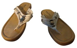 EUC - Minnetonka White Leather Slip On Flip-Flop Sandals - Size 7 - $19.79