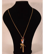 J Crew Assorted Stone Crystal Pendant Long Necklace Gold Tone Star Tassel - $35.64