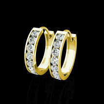 "0.50Ct Brilliant Created Diamond 14K Yellow Gold Huggie Hoop Earrings 0.5"" - $103.95"