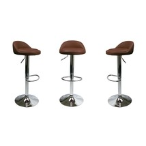 Set Of 2 Brown Leather Bar Stools Swivel Dinning Counter Adjustable Heig... - £224.89 GBP