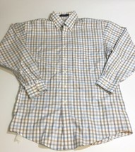 Reed's Plaid Mens Polo Shirt 80's 2 Ply Twill Medium Long Sleeve Button ... - $12.30
