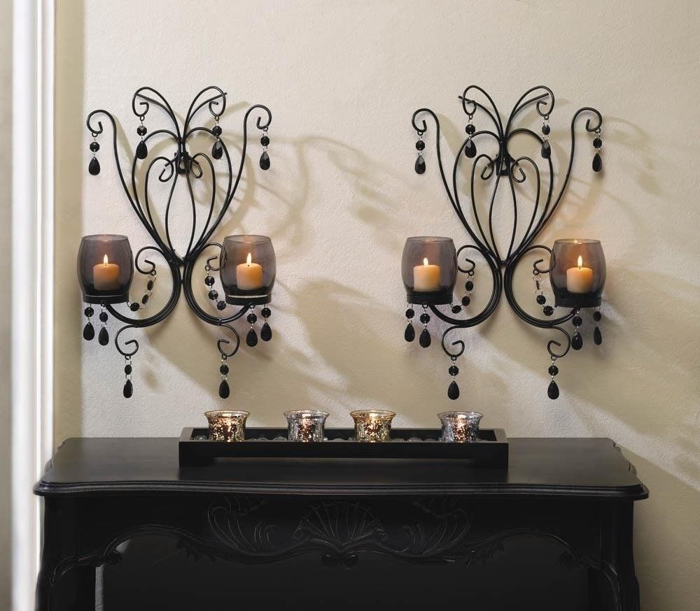 MIDNIGHT ELEGANCE WALL SCONCES Black Metal with Smoked Glass Candle Cups