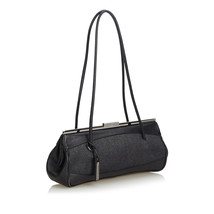 Pre-Loved Gucci Black Denim Fabric Shoulder Bag Italy - $316.97
