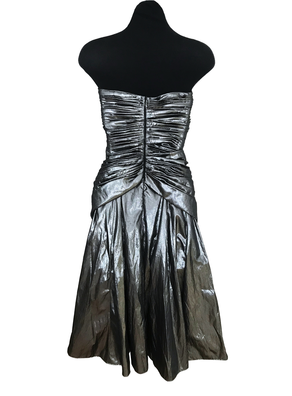 80s Etienne Brunel Paris Silver Metallic Lame Strapless Ruched Swing Party Dress image 8