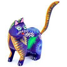 Handmade Alebrijes Oaxacan Copal Wood Carving Painted Cat Kitten Figurine image 5