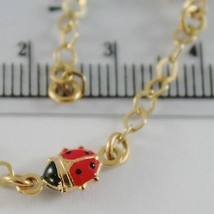18K YELLOW GOLD GIRL BRACELET 5.90 GLAZED LADYBIRD LADYBUG ENAMEL, MADE IN ITALY image 2