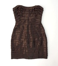 BCBG MAXAZRIA Brown Tiered Bandage Strapless Cocktail Mini Sheath Dress Size 2 - $19.79