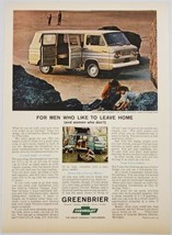 1964 Print Ad Chevrolet Greenbrier Sports Wagon Vans Couple Camping  - $16.81
