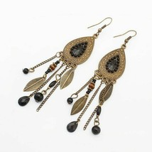 Earrings For Women Feather Boucle D'oreille Femme Bijoux Silver-Color Drop - $5.28