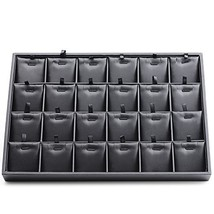 Oirlv Black Leather 24 Grids Inserts Jewelry Tray Pendant Earrings Showc... - $32.19
