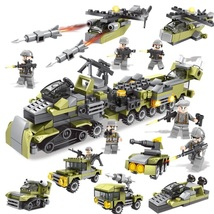 296pcs 6in1 Military Vehicle soldier set Building Blocks with Mini Army ... - $14.44