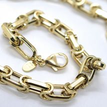 18K YELLOW GOLD CHAIN BIG ALTERNATE OVALS 7 MM 24 INCHES, SQUARED NECKLACE SHOWY image 3