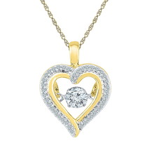 10k Yellow Gold Round Moving Twinkle Diamond Heart Outline Pendant 1/4 Cttw - $360.00