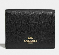 Coach Small Snap Wallet Leather Card Coin Case ~NWT~ Black 76507 - $78.21