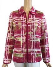 St. John Yellow Label Pink Multi Colored Tweed Zip Jacket L - $325.00