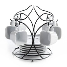 13 piece White Ceramic Saucer Set Metal Rack 6 Saucers Cups Coffee Hot D... - $42.56