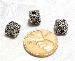 GRANULATED TEXTURED FINE PEWTER BEAD - 7x7x7mm HOLE 2mm image 2