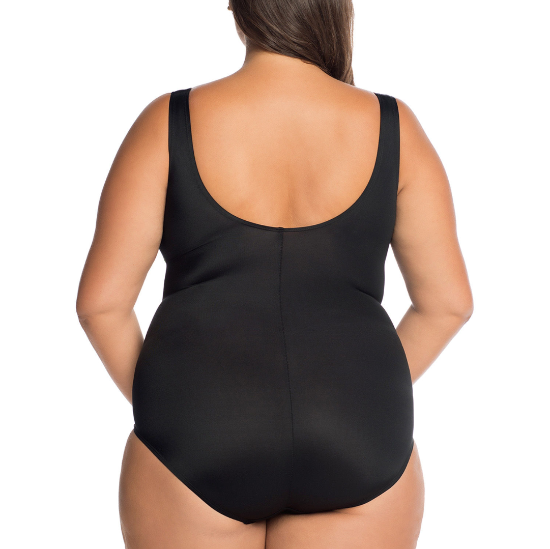 Robby Len By Longitude Abstract One Piece Swimsuit Plus Size 20W Msrp $99