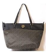 Tommy Hilfiger Signature Jacquard Tote Shopper Handbag - Black/Light Brown - $36.47