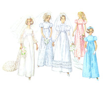 60s Vintage Simplicity Sewing Pattern 8589 Misses Wedding Dress Empire W... - $8.95