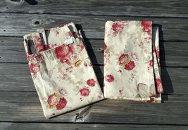 Pair Vintage Waverly Tab Top Curtains Panels Vintage Norfolk Rose Garden... - $74.24