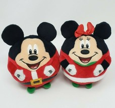 TY DISNEY MICKEY & MINNIE MOUSE BEANIE BALLZ CHRISTMAS STUFFED ANIMAL PL... - $23.38