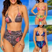Women High Waist Swimwear Bikini Set Push-up Padded Bra Bathing Suit Swimsuit image 4